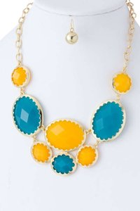 Unknown Yellow & Blue Faceted Oval Jewel Collar Necklace Set