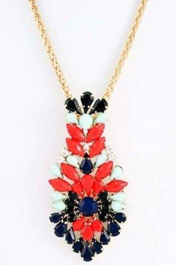 Unknown Chunky Multi Color Acrylic Jewel Pendant Costume Necklace
