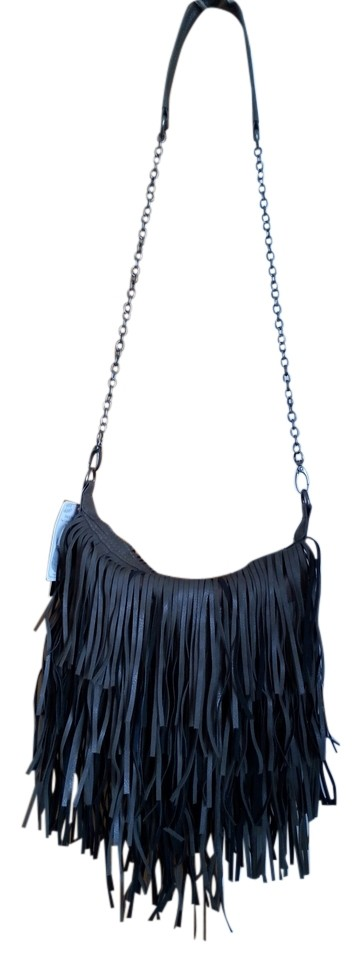 Steve Madden Fringe Cross Body Fringed Chain Convertible Shoulder Bag