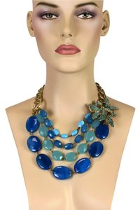Lee Angel Lee Angel Blue Stones Triple Strand Crystal Flower Necklace