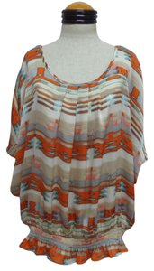 Nue by Shani Options Top Multi Color Geometric Print