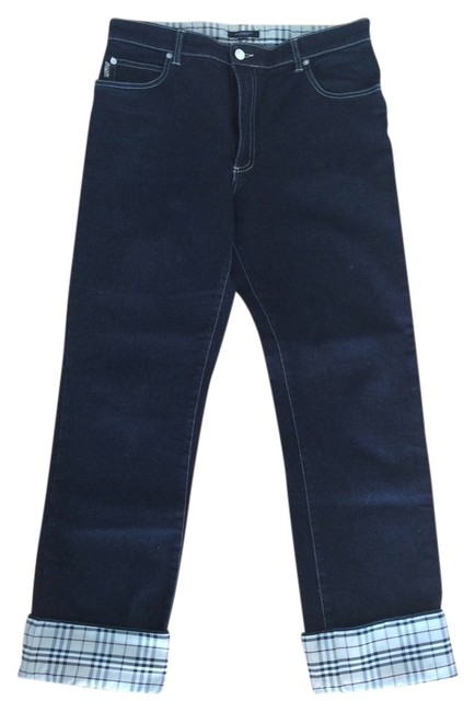 Item - Dark Navy Rinse Women's - Blue with Iconic Check Roll Up Cuff. Straight Leg Jeans Size 32 (8, M)