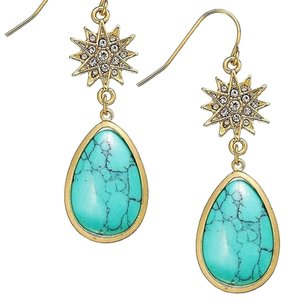Ralph Lauren (2) PAIRS of Earrings Gold Tone Hammered Teardrop Cluster & Crystal Star and Turquoise Stone Earrings
