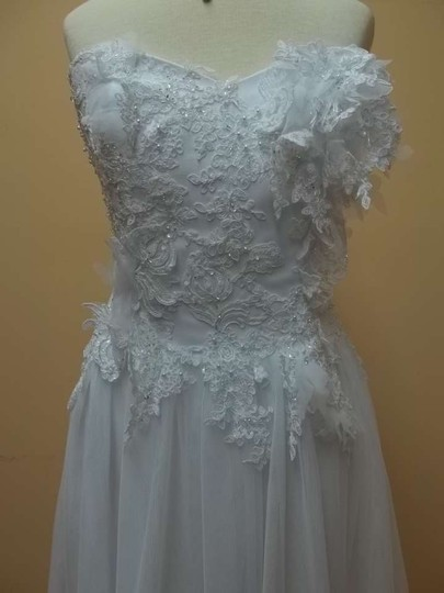 Alfred Angelo White Soft Net 8518 Formal Wedding Dress Size 8 (M)