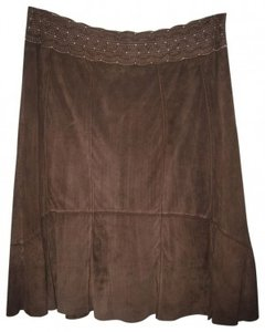 CAbi Suede Fitted And Flared At Knee Skirt Brown