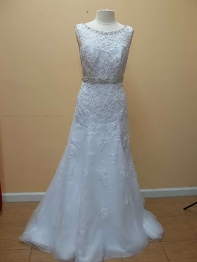 Mori Lee White Lace 1957 Formal Wedding Dress Size 14 (L)