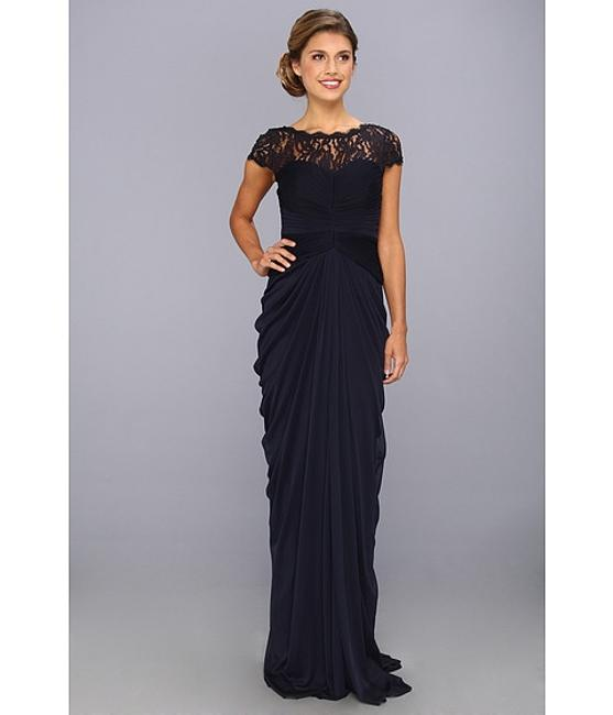 Item - Navy Draped Illusion Lace-neckline Gown Formal Bridesmaid/Mob Dress Size 14 (L)
