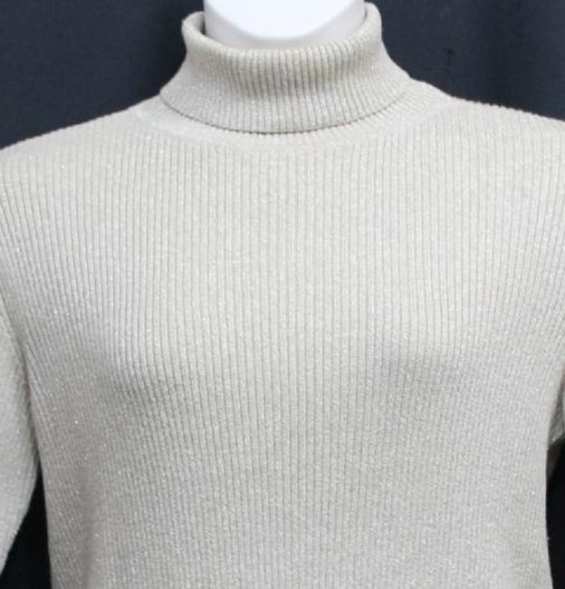Liz Claiborne Gold Ribbed Neck Knit Sweater