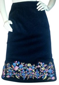 Russell Kemp New York Skirt Black corduroy with floral embroidery