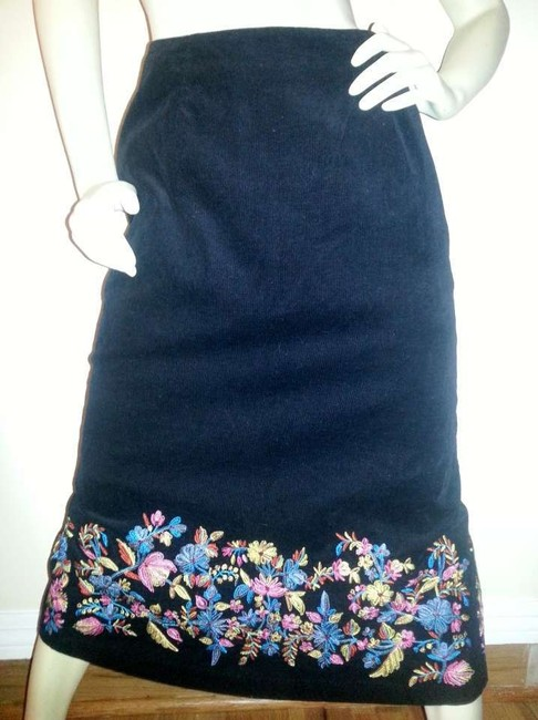 Russell Kemp New York Long Skirt Black corduroy with floral embroidery