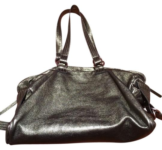 Sondra Roberts Metallic Shiny Handbag Satchel Style Stylish Hobo Bag