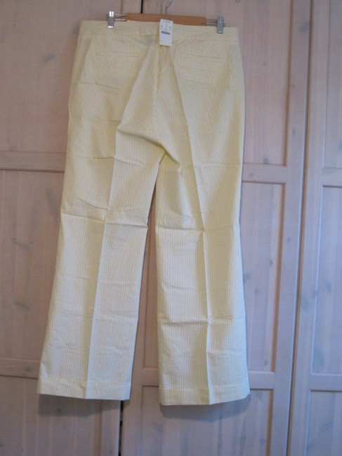 J.Crew Seersuckers Stripes Cotton Trouser Pants Yellow and White