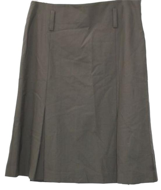 Theory Stretch Pleated Wool Blend Skirt DARK BROWN
