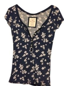 Hollister T Shirt Navy Blue Floral