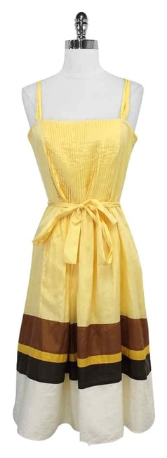 Preload https://img-static.tradesy.com/item/3419506/laundry-by-shelli-segal-yellow-and-brown-silk-blend-mid-length-short-casual-dress-size-6-s-0-0-650-650.jpg