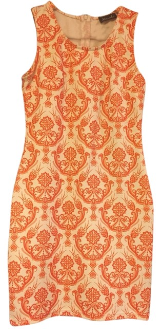 Item - Orange and White Paisley Pattern Cocktail Dress Size 6 (S)