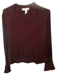 Jones New York Button Down Shirt Maroon