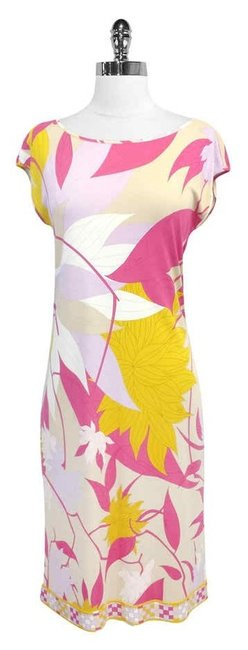 Preload https://img-static.tradesy.com/item/3420139/emilio-pucci-pink-and-yellow-floral-print-mid-length-short-casual-dress-size-8-m-0-0-650-650.jpg