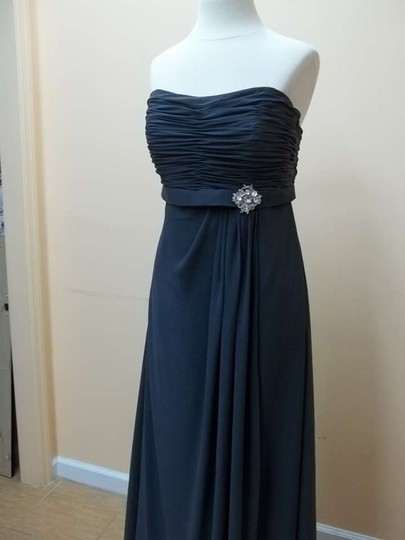 Mori Lee Charcoal Chiffon 686 Formal Bridesmaid/Mob Dress Size 12 (L)