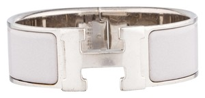 Herms Palladium and grey enamel Herms Wide Clic Clac PM Bracelet
