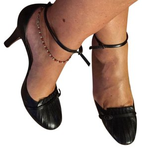 Boccaccini blac leater ankle strup pumps Black Pumps