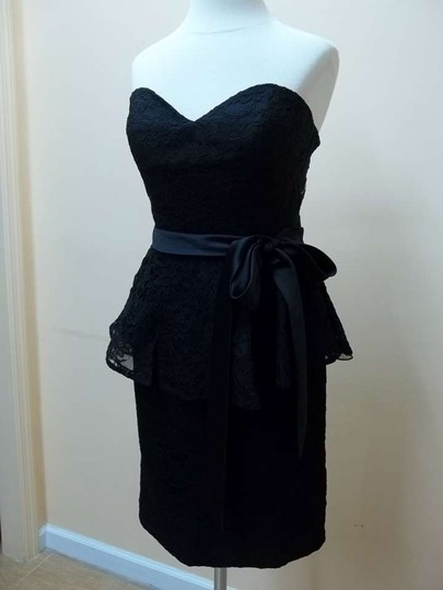 Mori Lee Black 31016 Formal Bridesmaid/Mob Dress Size 8 (M)