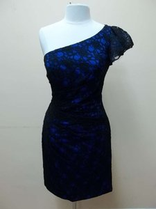 Mori Lee Black Royal Lace 31020 Formal Bridesmaid/Mob Dress Size 12 (L)