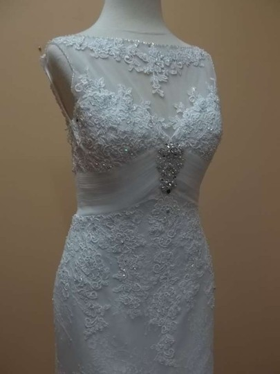 Mori Lee Ivory/Silver Lace 5109 Formal Wedding Dress Size 6 (S)