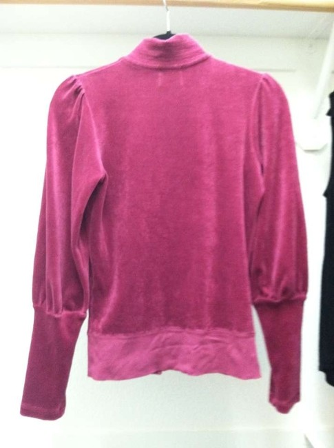 Juicy Couture Velour Jacket Classic Designer Outfit Matching Lounge Bordeaux Track Puff Sleeve Comfortable Sleep Sporty Active Usa Sweatshirt