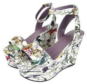 Gucci Suede Leather Horsebit Platform Sandal Floral Wedges