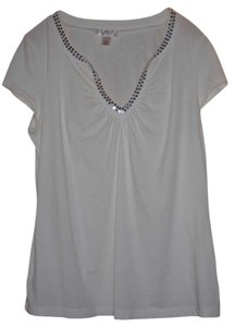 Ann Taylor LOFT T Shirt White With Silver Sequin Trim