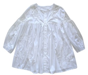 White Mountain Cotton Lace Pleated Maternity Summer Gathered Top white
