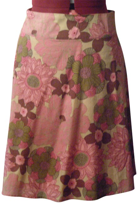 Forever 21 Skirt Coral, Brown, Olive Green Floral Pattern
