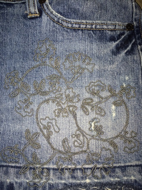 Abercrombie & Fitch Classic Mini Skirt Denim blue with gold embroidery