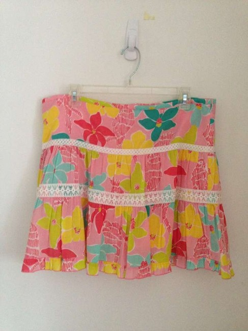 Lilly Pulitzer Lace Floral Preppy Bright Skirt Pink