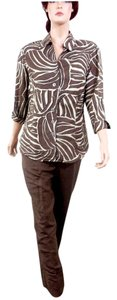 East 5th Essentials East 5th Two-Piece Brown/Tan Animal Print Linen Pant Set