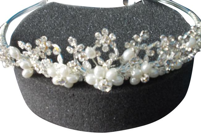 Item - Silver Tiara with Pearls and Crystals Hair Accessory