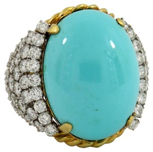 Turquoise Ring with Diamond Embelished Sides