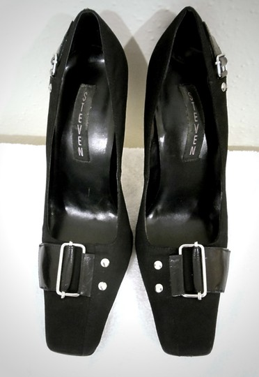 Steve Madden Square Toe Fabric Silver Buckle Black Pumps