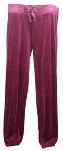 Juicy Couture Velour Lounge Matching Outfit Designer Active Comfortable Bordeaux Banded Elastic Relaxed Usa Sporty Athletic Sleep Skinny Pants Red