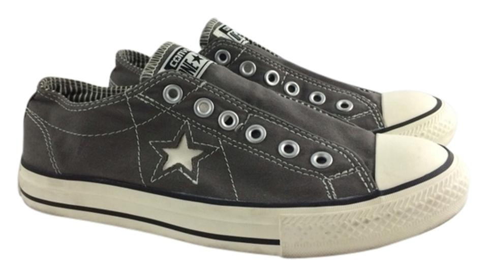 1262e1b72bf9 Converse One Star Sneakers Flats Tennis Chuck Taylor Size 8 Grey Star Laces Good  Used Condition ...