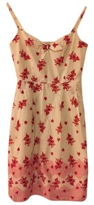 Ann Taylor LOFT short dress Cream with red floral pattern Summer Stripes Bow Spaghetti Strap on Tradesy