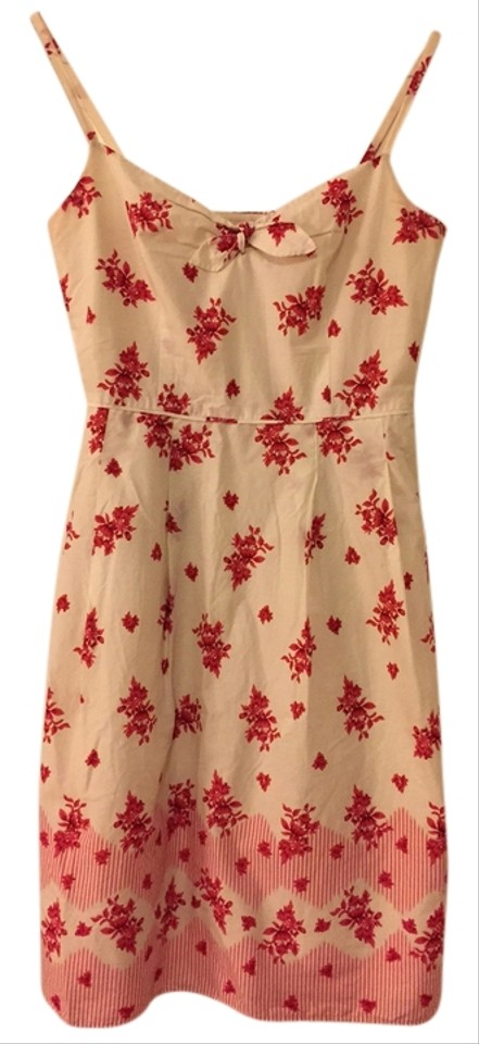 Ann Taylor Loft Cream With Red Floral Pattern 8449a Dress