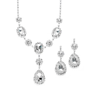 Mariell Silver Rhinestone Prom Bridesmaid with Clear Teardrops 3803s-cr Necklace