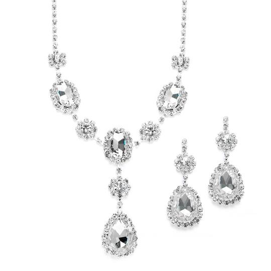 Mariell Rhinestone Prom & Bridesmaid Necklace Set With Clear Teardrops 3803s-cr