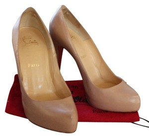 Christian Louboutin Nude Rolando Leather Pointed Toe Stiletto Hidden Platform Platform Beige Pumps