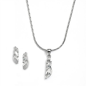 Mariell Silver Elegant Cz Marquis Trio Necklace Set For Prom Or Bridesmaids 4013s Earrings