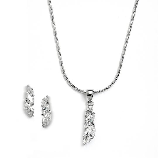 Mariell Elegant Cz Marquis Trio Necklace & Earrings Set For Prom Or Bridesmaids 4013s
