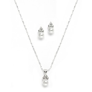 Mariell White Pearl & Crystal Wedding Necklace & Earrings 3671s