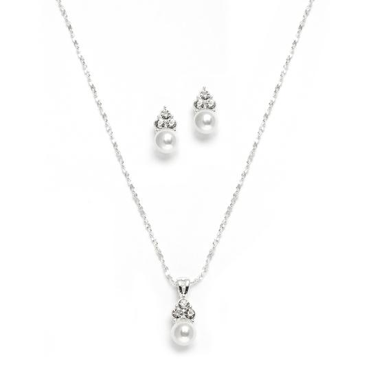 Mariell Silver White Pearl Crystal Necklace 3671s Earrings